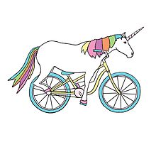 Unicorn Riding a Bicycle Photographic Print