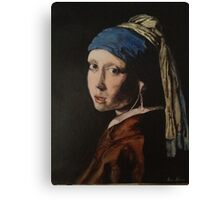 The Girl With The iPod Headphones Canvas Print