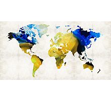 World Map 16 - Yellow And Blue Art By Sharon Cummings Photographic Print