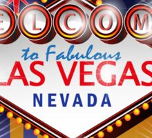 Welcome to fabulous Las Vegas Nevada sign in blue gold background, vector Sticker