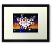 Welcome to fabulous Las Vegas Nevada sign in blue gold background, vector Framed Print