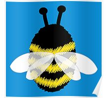 Bumble bee on blue... Poster