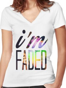 Faded 1 Women's Fitted V-Neck T-Shirt