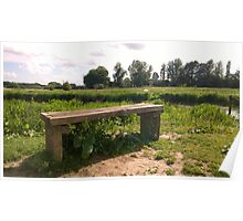Bench on norfolk river Poster