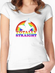 Gay Pride Shirt - Support LGBT - Rainbow Unicorn Women's Fitted Scoop T-Shirt