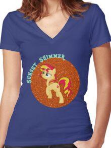 SunsetShimmerGlitter Women's Fitted V-Neck T-Shirt