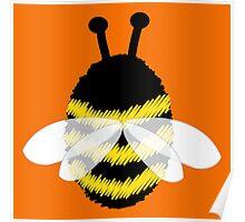 Bumble Bee on Orange. Poster