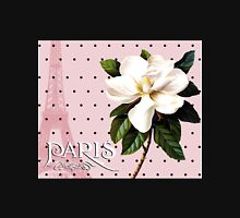 Sophisticated Parisian White Magnolias black polka dots, Eiffel Tower France Womens Fitted T-Shirt