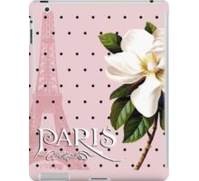 Sophisticated Parisian White Magnolias black polka dots, Eiffel Tower France iPad Case/Skin