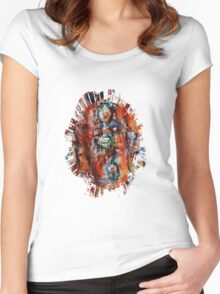 Bubbles In Red - Torn Women's Fitted Scoop T-Shirt