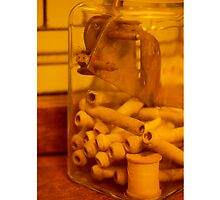 Antique thread spool glass jar by christiJphoto