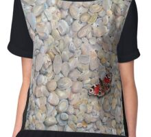 Peacock Butterfly on pebbles Chiffon Top