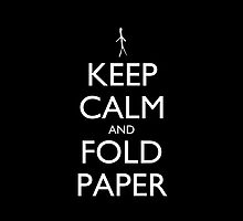 Keep Calm and Fold Paper pillow (black) by olmosperfect