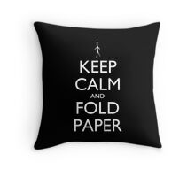 Keep Calm and Fold Paper pillow (black) Throw Pillow