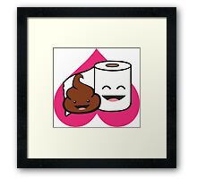 Poop and Toilet Paper Roll (Perfect Match) Framed Print