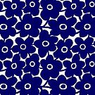 Bold Flowers - Dark Blue and White by Artberry