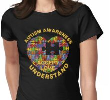 Autism Awareness Puzzle Heart Womens Fitted T-Shirt