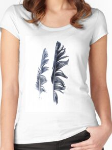 bird feathers in dark blue, illustration Women's Fitted Scoop T-Shirt