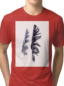 bird feathers in dark blue, illustration Tri-blend T-Shirt