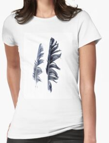bird feathers in dark blue, illustration Womens Fitted T-Shirt