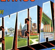 Cleveland Ohio Vintage Souvenir Greeting Post Card Sticker