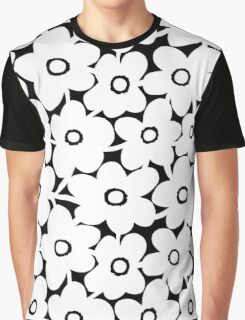 Bold Flowers - White and Black Graphic T-Shirt