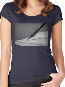 Quill in Black & White Women's Fitted Scoop T-Shirt