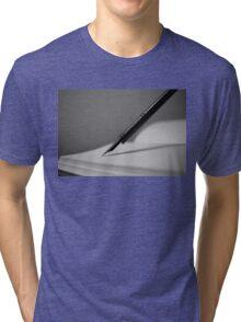 Quill in Black & White Tri-blend T-Shirt