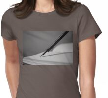 Quill in Black & White Womens Fitted T-Shirt