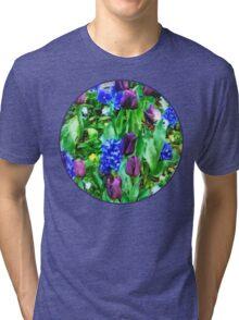 Spring Garden in Shades of Purple Tri-blend T-Shirt