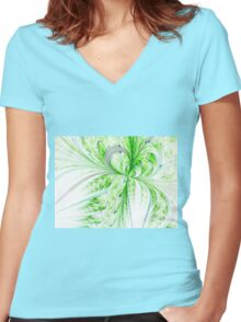 Green Butterfly - Abstract Fractal Artwork Women's Fitted V-Neck T-Shirt