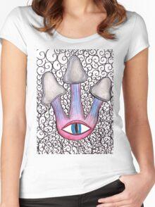 Trippy Eye Mushrooms Women's Fitted Scoop T-Shirt