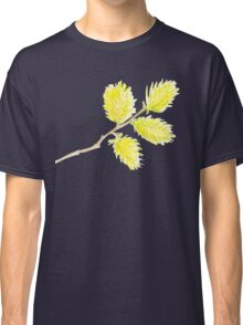 Yellow willow catkins watercolor Classic T-Shirt