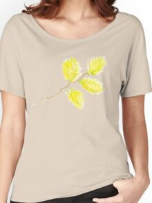 Yellow willow catkins watercolor Women's Relaxed Fit T-Shirt