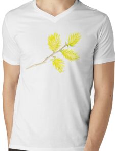 Yellow willow catkins watercolor Mens V-Neck T-Shirt