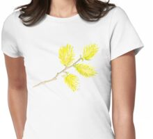 Yellow willow catkins watercolor Womens Fitted T-Shirt