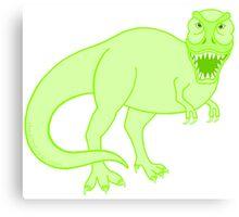 Green T Rex Dinosaur Colorful Prehistoric Animal Canvas Print