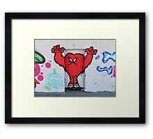 Cute Red Hairy Monster Framed Print