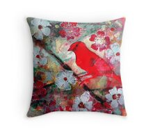 Red Bird Singing Throw Pillow