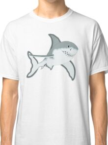 Gray Great White Shark Cartoon Fanciful Sea Creature Classic T-Shirt