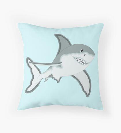 Gray Great White Shark Cartoon Fanciful Sea Creature Throw Pillow