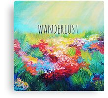 WANDERLUST Colorful Abstract Floral Nature Hipster Typography Adventure Painting Canvas Print