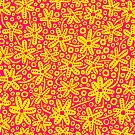 Stylised Floral Design - Amber and Rose Red by Artberry