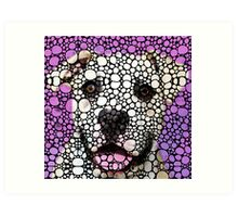 Pit Bull Stone Rock'd Art By Sharon Cummings Art Print
