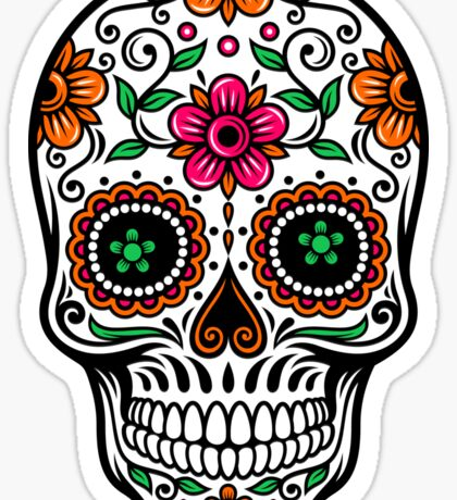 Colorful Sugar Skull & Retro FlowersPattern Background Sticker
