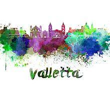 Valletta skyline in watercolor by paulrommer
