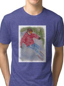 SKIING THE POWDER Tri-blend T-Shirt
