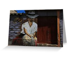 Painting of a Woman Weaving Hats Greeting Card