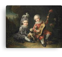 Jean-Germain Drouais - Children Of The Marquis De Bethune Playing With A Dog 1761. Child portrait: sons , Dog,  pug , paw, strum , guitar, costume, childhood, cute baby, small, pretty angel Canvas Print
