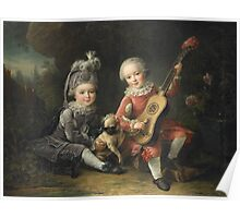 Jean-Germain Drouais - Children Of The Marquis De Bethune Playing With A Dog 1761. Child portrait: sons , Dog,  pug , paw, strum , guitar, costume, childhood, cute baby, small, pretty angel Poster
